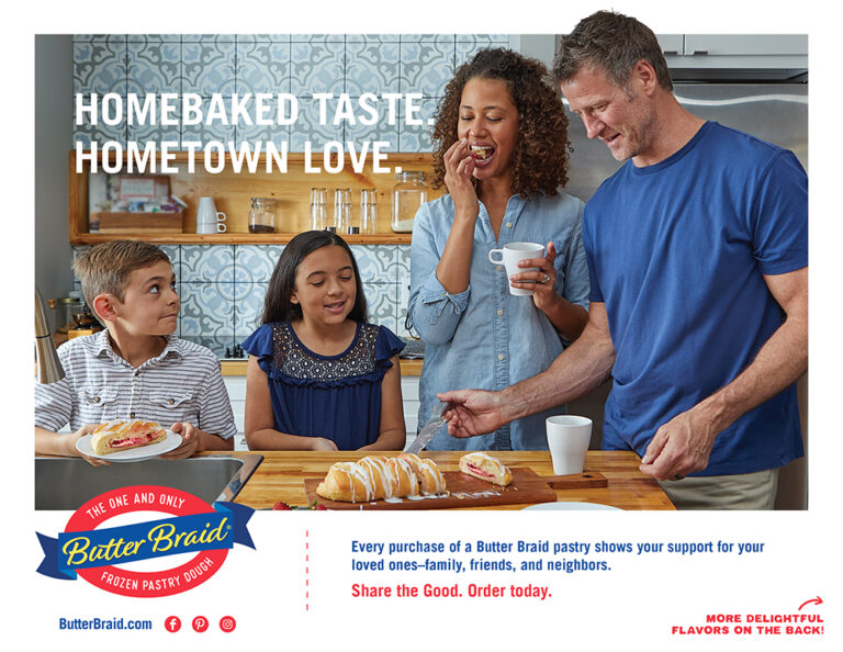 """Family eating pastries at a kitchen island - Butter Braid Pastry order form front with logo """"Every purchase of a Butter Braid Pastry shows your support for your loved ones - family, friends, and neighbors. Share the Good. Order Today."""""""