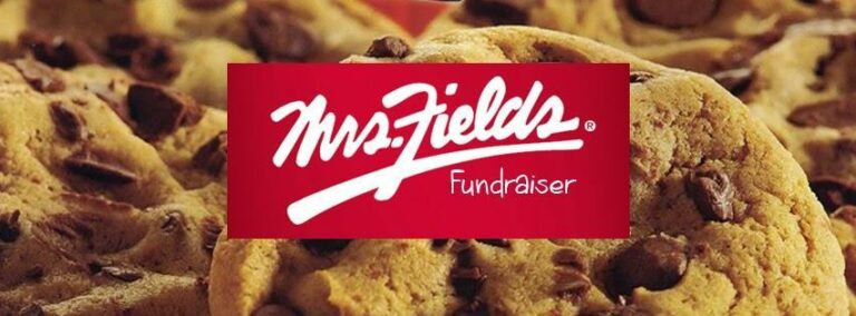 mrs. fields fundraiser in red across image of chocolate chip cookies